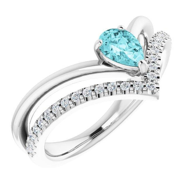 Genuine Blue Zircon 14K White Gold Ring - Moijey Fine Jewelry and Diamonds