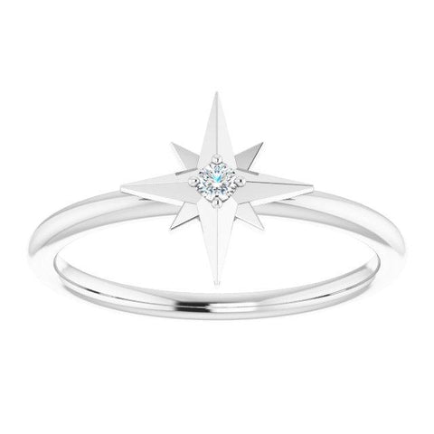 .03 CT Diamond Solitaire Star Ring