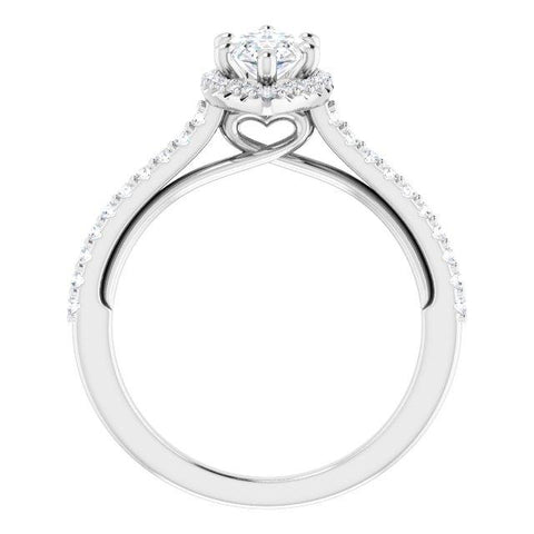 Sweetheart Halo Marquise Engagement Ring Setting