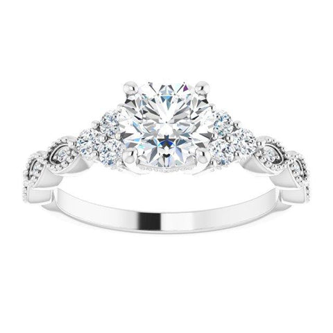 Round Vintage-Inspired Semi-Set Engagement Ring