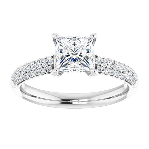 Airy Princess Cut Pave Engagement Ring Setting - Moijey Fine Jewelry and Diamonds