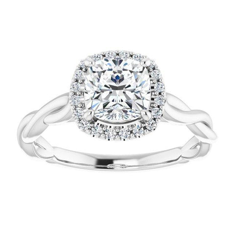 Shining Infinite Halo Cushion Engagement Ring - Moijey Fine Jewelry and Diamonds