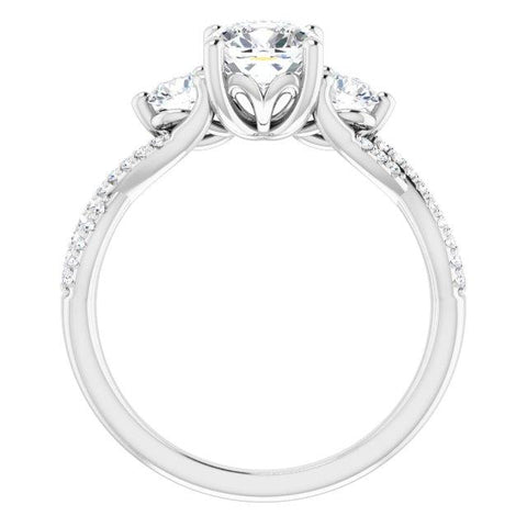 Three-Stone Infinity-Inspired Cushion Engagement Ring Mounting - Moijey Fine Jewelry and Diamonds