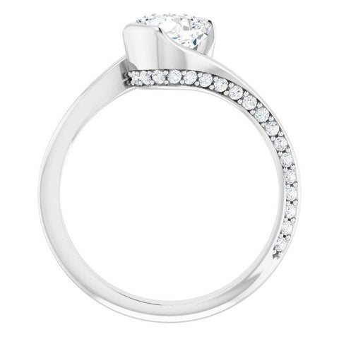Cushion Modern Bypass Engagement Ring Setting