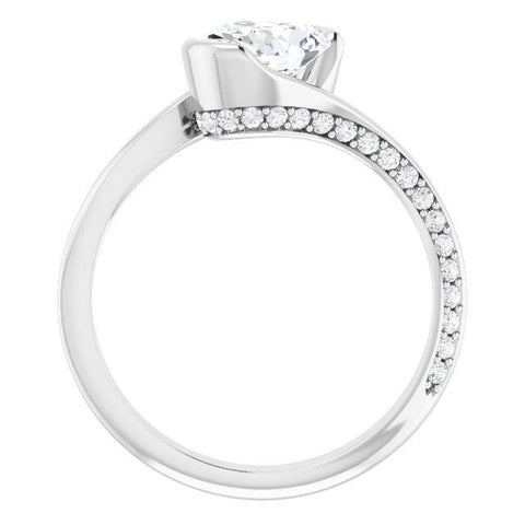 Oval Modern Bypass Engagement Ring Mounting - Moijey Fine Jewelry and Diamonds