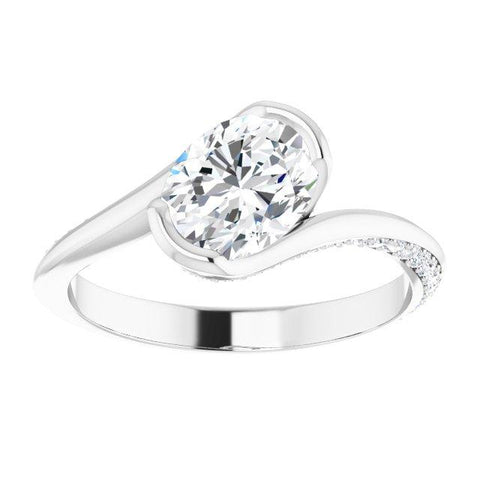Oval Modern Bypass Engagement Ring Mounting