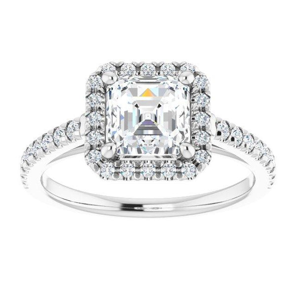 Asscher French-Set Engagement Ring Mounting