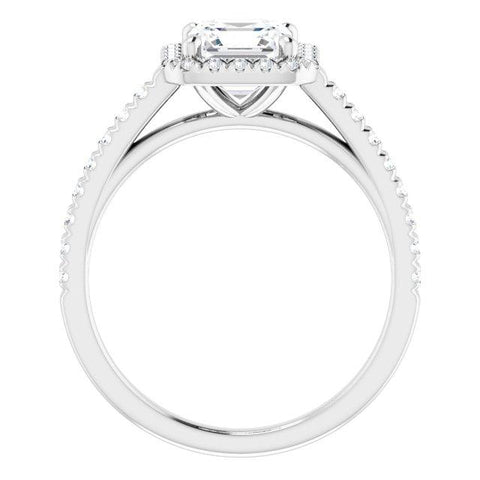 Asscher French-Set Engagement Ring Mounting - Moijey Fine Jewelry and Diamonds