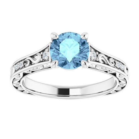 Round Vintage-Inspired Semi-Set Engagement Ring Setting
