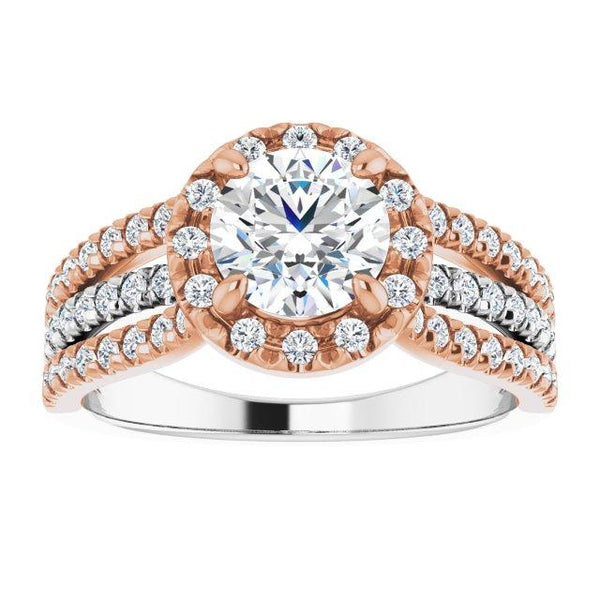 Triple Row 14k 6.5 mm Round engagement ring with 1/2 CTW Diamonds