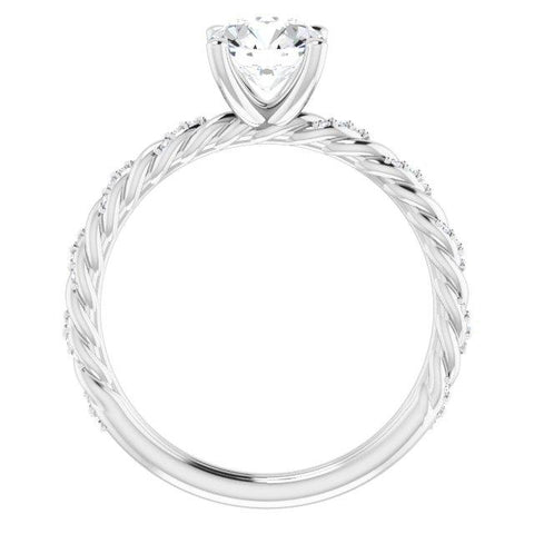 Round Pave-Twist 1/8 CTW Diamond Semi-Set Engagement Ring Setting - Moijey Fine Jewelry and Diamonds