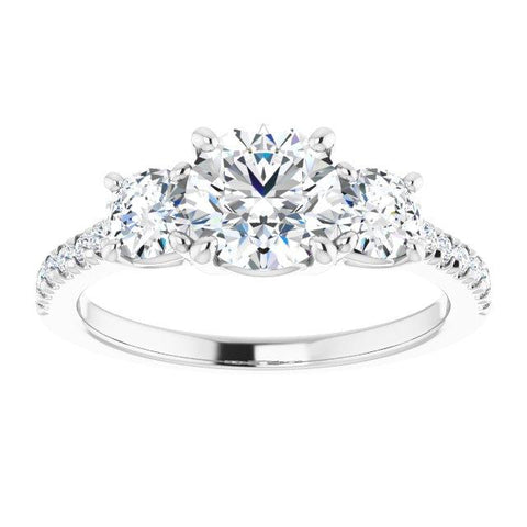 French-Set Three-Stone Round Engagement Ring Setting