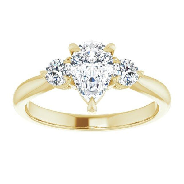Timeless Pear-Shape Three-Stone Engagement Ring Setting