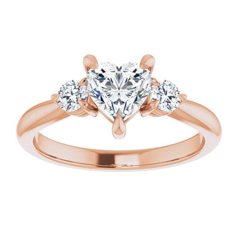 Three-Stone Heart-Shaped Engagement Ring Mounting