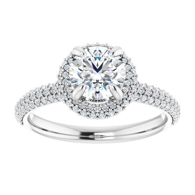 Dramatic Pave Halo Engagement Ring
