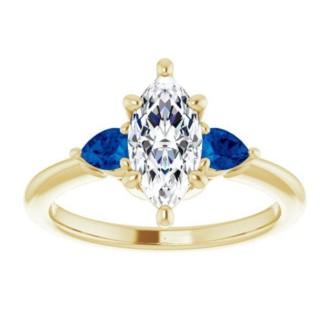 1-carat Marquise and Sapphire Pear Three-Stone Engagement Ring Setting - Moijey Fine Jewelry and Diamonds