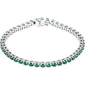 "14kt White Gold Natural Emerald 7"" Line Bracelet"