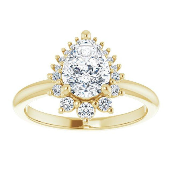 Elegant 14K Yellow Gold Pear-Shaped Engagement Ring - Moijey Fine Jewelry and Diamonds