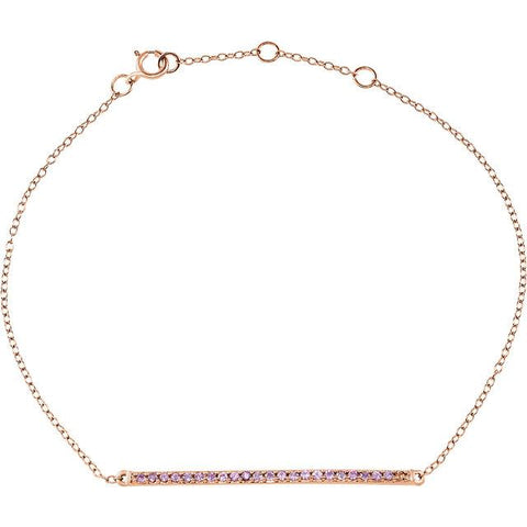 8-Inch 14K Rose Gold & Pink Sapphire Bracelet - Moijey Fine Jewelry and Diamonds