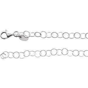 "Sterling Silver 4.6mm Knurled Rolo 24"" Chain - Moijey Fine Jewelry and Diamonds"