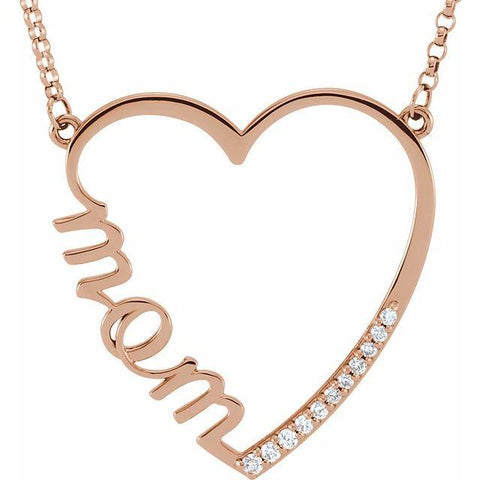 14K Gold Mom Heart Necklace with Diamonds - Moijey Fine Jewelry and Diamonds