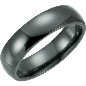 black titanium band | polished black titanium band | polished and domed black titanium band