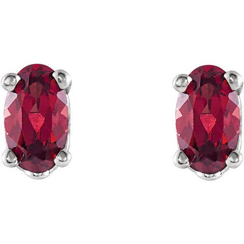 Oval-Cut Garnet Scroll Stud Earrings (5x3mm) - Moijey Fine Jewelry and Diamonds