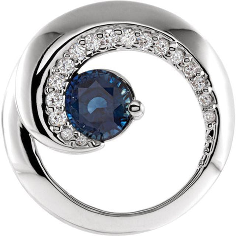 14kt White Gold 1/5CTW Diamond & Blue Sapphire Pendant - Moijey Fine Jewelry and Diamonds
