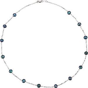 "Sterling Silver Freshwater Black Cultured Pearl Station 18"" Necklace - Moijey Fine Jewelry and Diamonds"