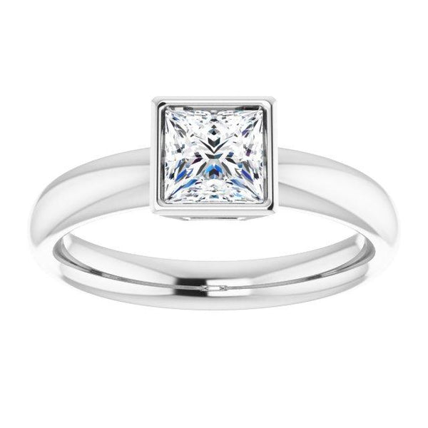 Sleek Bezel Solitaire Princess Cut Engagement Ring - Moijey Fine Jewelry and Diamonds