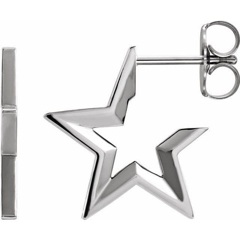 14k Star Hoop Earrings