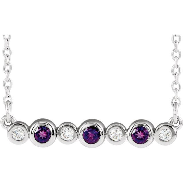 "Amethyst & .08 CTW Diamond Bezel-Set Bar 16-18"" Necklace"