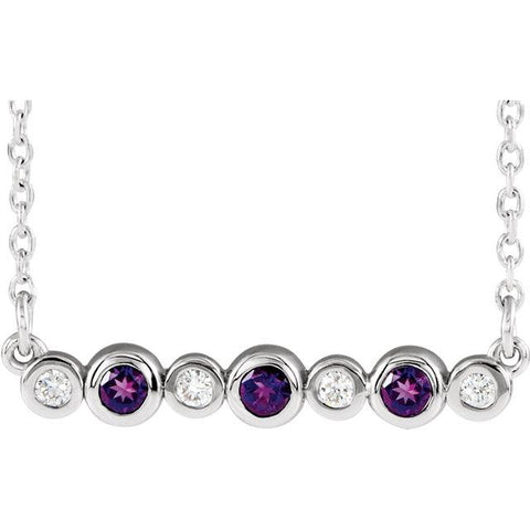 "Amethyst & .08 CTW Diamond Bezel-Set Bar 16-18"" Necklace - Moijey Fine Jewelry and Diamonds"