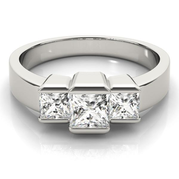 Modern Princess Three-Stone Engagement Ring Setting