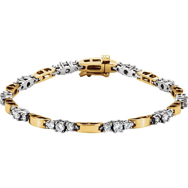 14K Two-Tone Diamond Line Bracelet