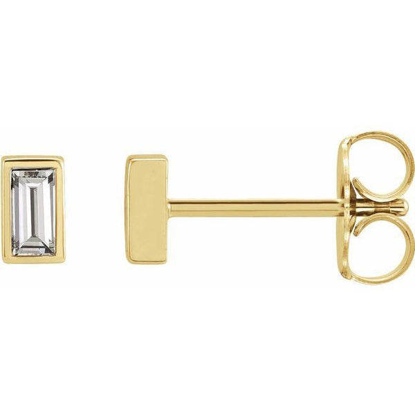 Bezel-Set Baguette 1/8-ctw. Diamond Earrings