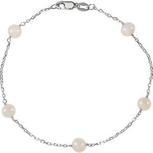 "Sterling Silver Freshwater Cultured Pearl Station 7.5"" Bracelet - Moijey Fine Jewelry and Diamonds"