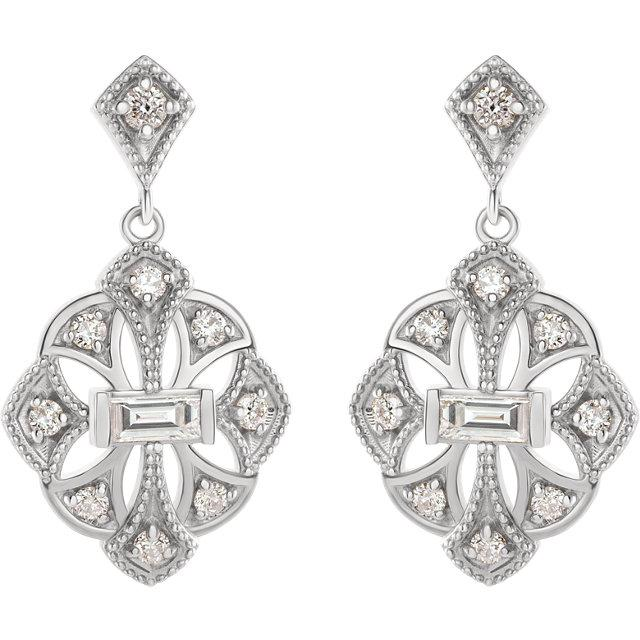 3/8 CTW Diamond Vintage-Inspired Earrings