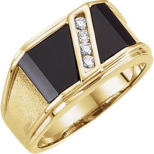 Gentleman's Onyx & 1/8 CTW Diamond Ring - Moijey Fine Jewelry and Diamonds