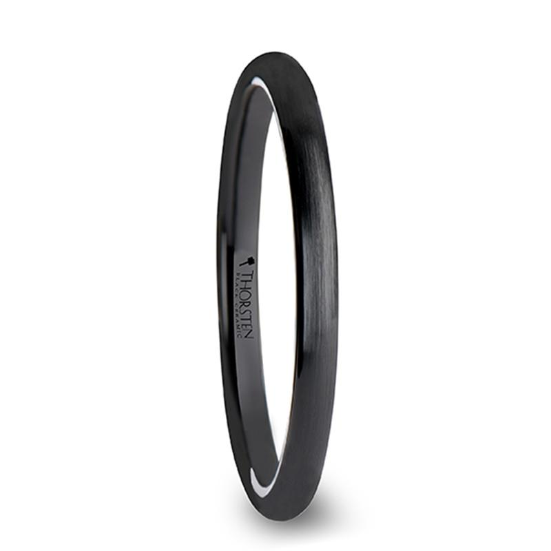 Brushed Black Ceramic Wedding Ring