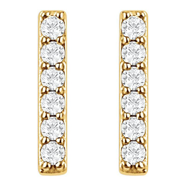 14kt Yellow Gold 1/10CTW Diamond Bar Earrings - Moijey Fine Jewelry and Diamonds