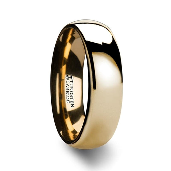 Domed Gold Tungsten Wedding Ring