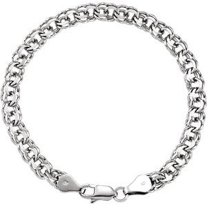 "14K White Solid Double Link Charm 7"" Bracelet - Moijey Fine Jewelry and Diamonds"