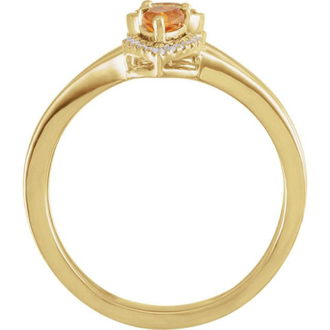 14K Yellow Citrine & 1/5 CTW Diamond Ring - Moijey Fine Jewelry and Diamonds