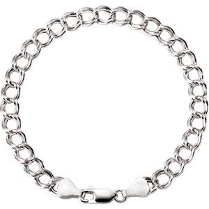 "Sterling Silver 4.5mm Hollow Curb Charm 8"" Bracelet - Moijey Fine Jewelry and Diamonds"