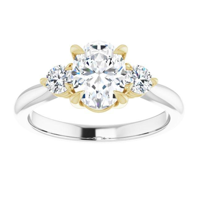 14k White and Yellow Gold 8.6 mm Oval Engagement Ring