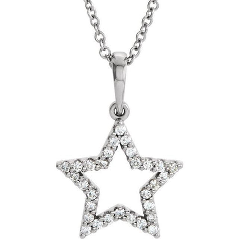 "14k 1/8 CTW Diamond Star 16"" Necklace"