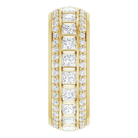 2x2 mm Eternity Ring with Accent and Center stones - Moijey Fine Jewelry and Diamonds