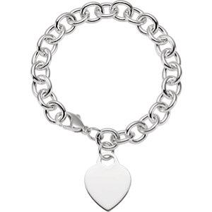 "Sterling Silver Heart Charm 7.5"" Bracelet - Moijey Fine Jewelry and Diamonds"