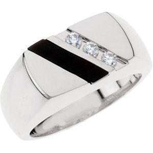 mens silver diamond rings | sterling silver onyx ring for men | diamond and onyx ring